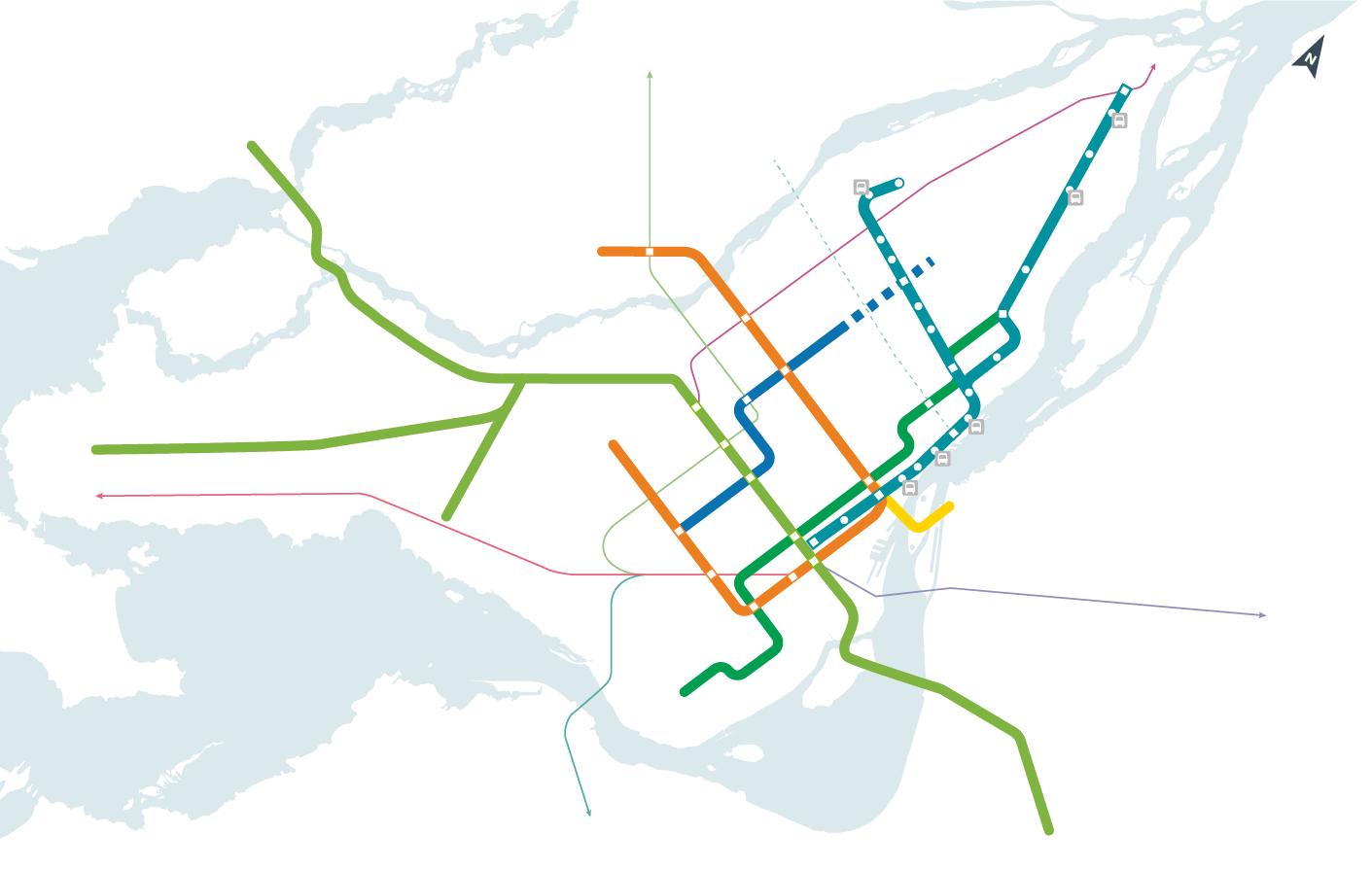 Connexions au réseau de transport du REM de l'Est