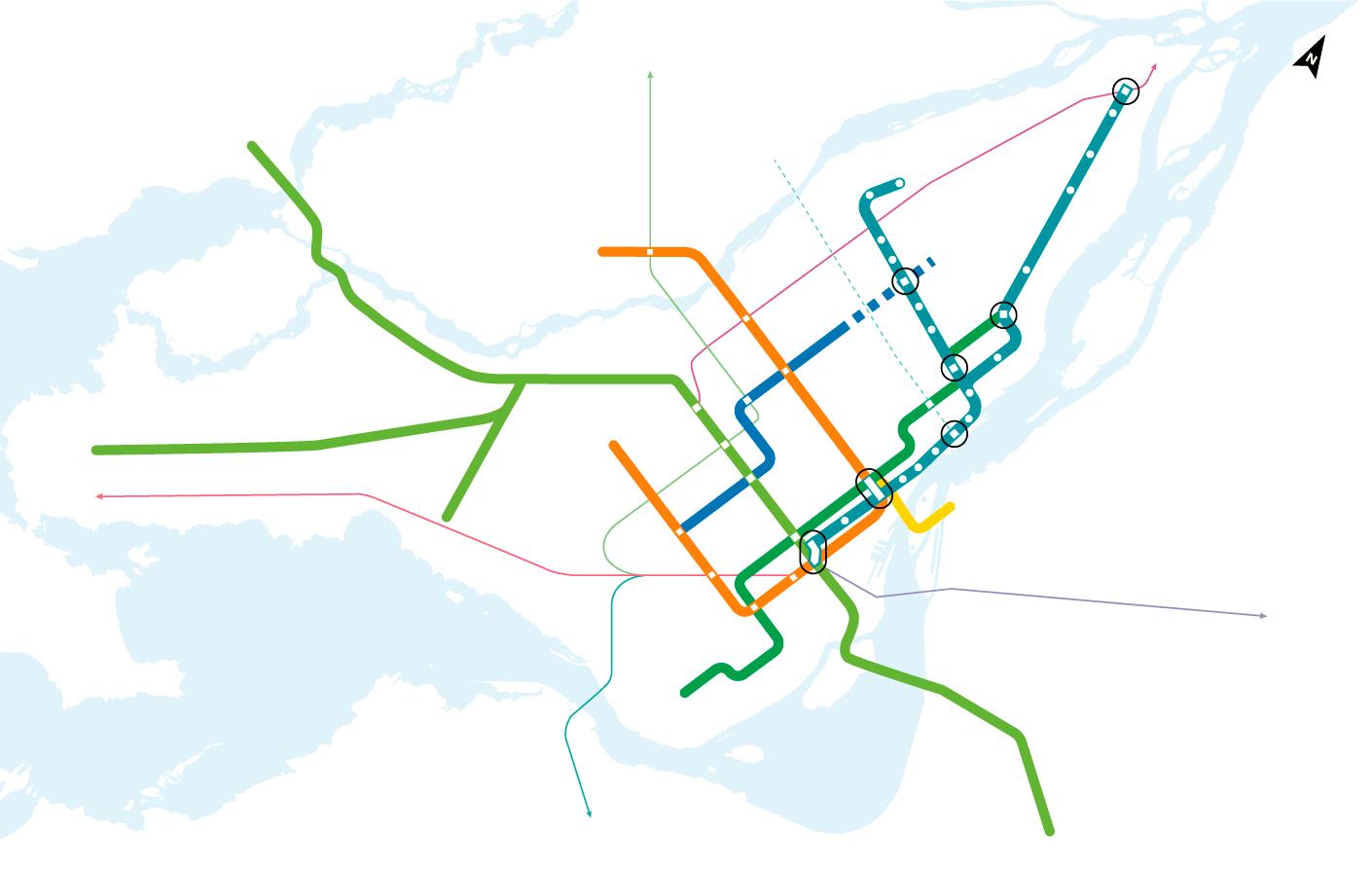 Connexions du REM de l'Est aux réseaux de transport