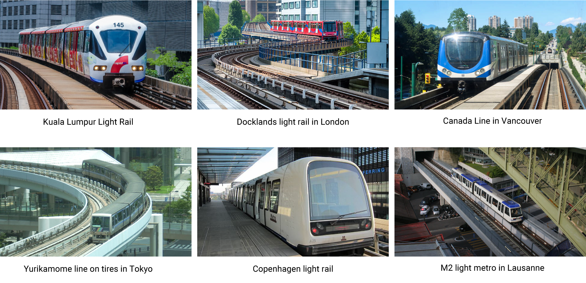 Automated light rail examples